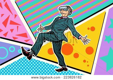 man playing virtual reality VR glasses. Pop art retro vector illustration
