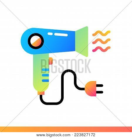 Flat icon Hair dryer. Hotel services. Material design icon suitable for print, website and presentation poster