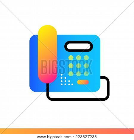 Flat icon Stationary phone. Hotel services. Material design icon suitable for print, website and presentation