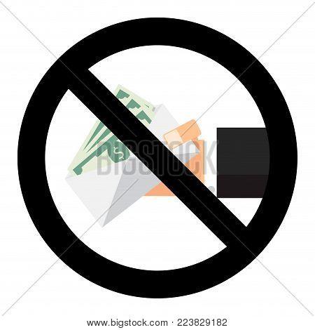 Ban bribery symbol sign vector. Finance cash stop symbol, illustration of no cash banknote in envelope
