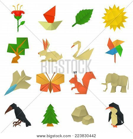 Origami craft icons set. Cartoon illustration of 16 origami craft vector icons for web