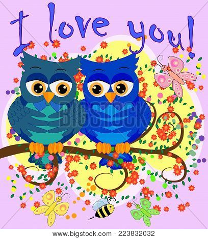 Two blue-eyed, owl-owl-boys sit on the flowering branch of a tree, love is in the air. The inscription I love you. Concept of homosexual male love, postcard