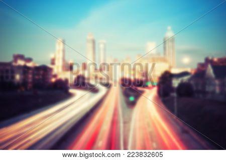 Blured lights of Atlanta skyline, Georgia, USA