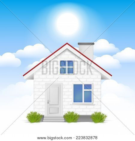 3D realistic House in the clouds. Vector illustration. Esp 10.