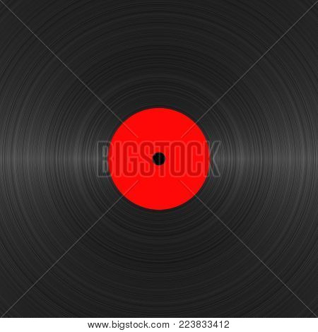 Vinyl record with blank red label close up. Black vinyl texture. Vintage template