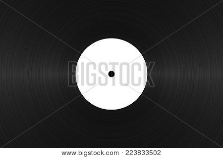 Vinyl record with blank white label close up. Black vinyl texture. Vintage template