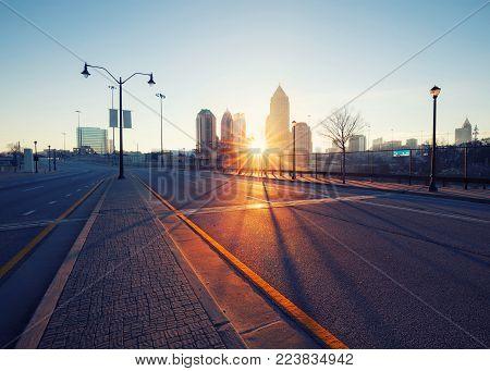 Atlanta Street At Early Morning, Georgia, Usa