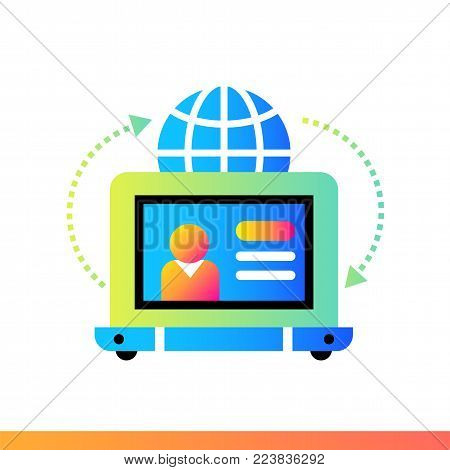 Flat icon Online teaching. Online education, e-learning. Material design icon suitable for print, website and presentation