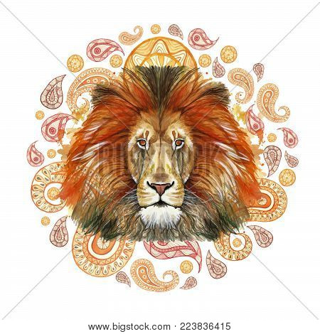 Watercolor drawing of an animal of a mammal, a predator of a red lion, a red mane, a lion-king of beasts, a portrait of greatness, strength, kingdom, india, Indian patterns, with elements of a Turkish