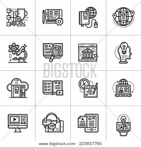 Outline icon set of Online education and e-learning. Material design icon suitable for print, website and presentation