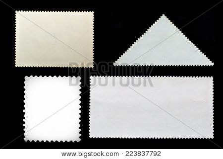 Set of grunge black posted stamps reverse side isolated on white background
