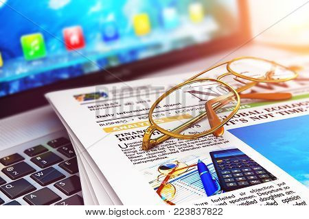 Creative abstract 3D render illustration of the macro view of the stack of newspapers with business news internet and golden eyeglasses on office laptop or notebook with selective focus effect