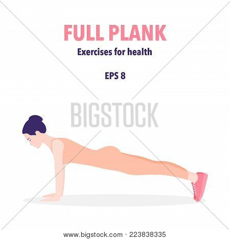 Beautiful woman in a plank pose. Girl in profile. Fitness. Vector illustration