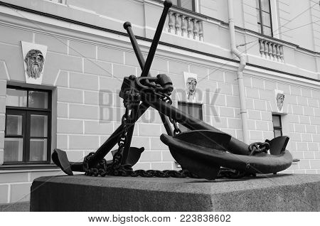 Two large anchors commemorate the proud naval history of St. Petersburg