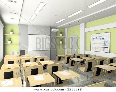 Interior Of The Lecture-Room For Seminars, Studies, Trainings Or Meetings