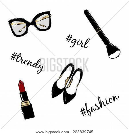 Vector fashion sketch set. Hand drawn graphic black shoes, makeup brush, red lipstick, eye glasses. Inscription lettering with hashtag fashion, style, girl. Fashion illustration kit vogue style