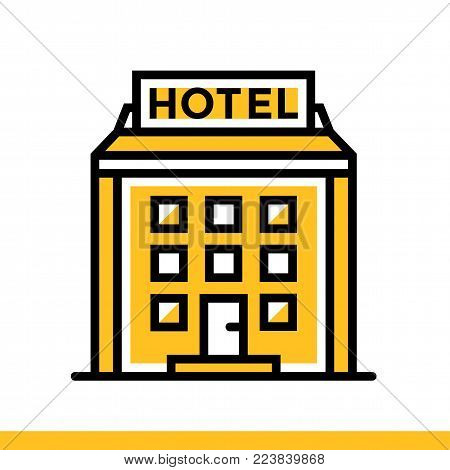 Outline icon Hotel building. Hotel services. Material design icon suitable for print, website and presentation