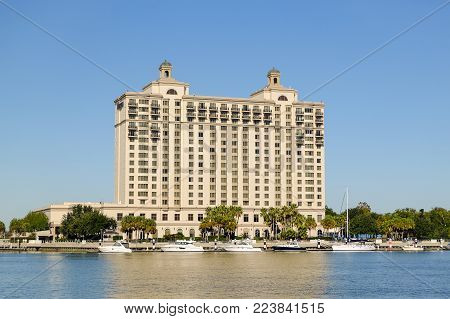 SAVANNAH, GEORGIA, USA - OCTOBER 31, 2017: The Westin Savannah Harbor Golf Resort and Spa, a waterfront luxury hotel.