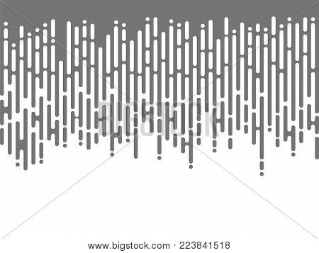 Grey falling irregular rounded lines in the style of the Mentis. Halftone transition abstract mosaic design. Vector background