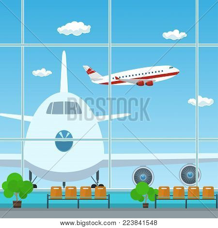 Waiting Room at the Airport , View on Airplanes through the Window from a Waiting Room , Travel Concept, Flat Design,  Illustration