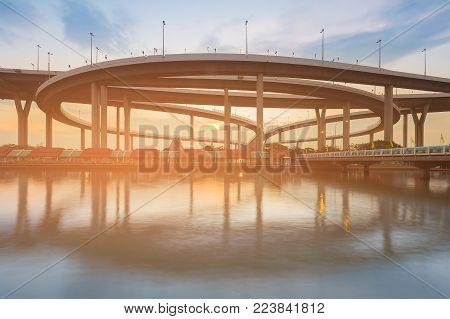 Akashi Kaikyo suspension bridge sunset tone, Kobe Japan landmark
