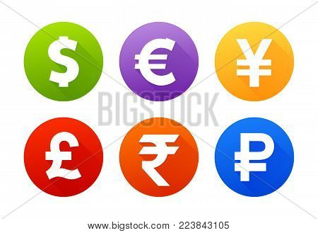 Currency flat vector symbol set. Icons with images of currencies different countries dollar sign, euro sign, pound sterling sign, yen sign, yuan sign, ruble sign