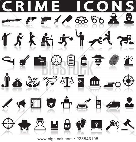 criminal icons set on white background with shadow