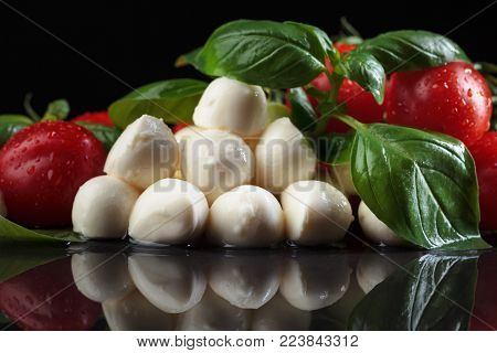 Mozarella With Small Tomatoes And Basil .