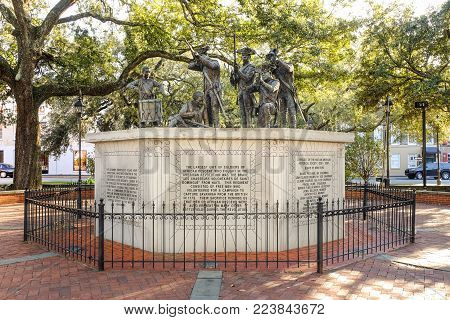 SAVANNAH, GEORGIA, USA - OCTOBER 31, 2017: The Haitian Monument located on Franklin Square in Savannah, Georgia dedicated to Haitian black regiment during the Independence War.