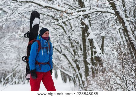 Smiling snowboarder with backpack walks through the forest after snowfall, admiring snow covered trees on the slope - anticipation of adventure. Happy people in nature.