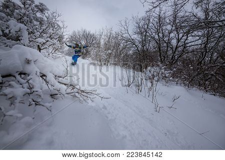 Snowboarder is riding fast among snow-capped trees, after snowfall, with arms outstretched. Epic backcountry in winter wilderness.