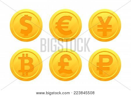 Vector set of world currency symbols in the form of gold coins with signs: dollar, euro, pound, ruble, yen, bitcoin, yuan. Currency signs.