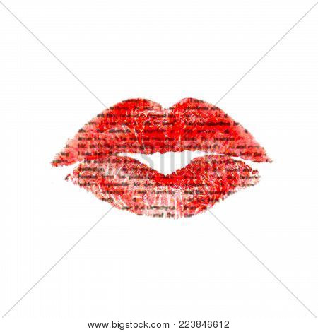 Red lipstick with unreadable text. Beautiful lips kiss trace with newspaper texture, isolated on white background