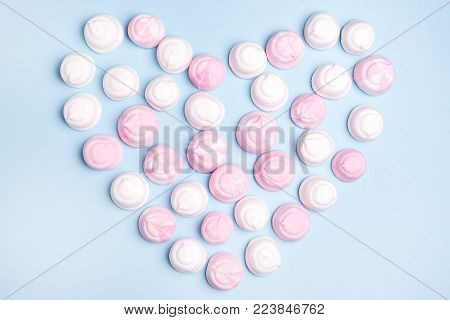 Pink and White Tasty Marshmallows in Shape of Heart Flat Lay Top View Food Concept Love Background Valentine Pink and White Heart Marshmallow