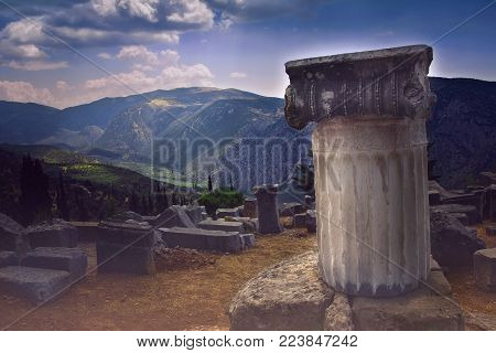 Ancient remnants in the famous archaeological site of Delphi in Greece which was believed during the antiquity to be
