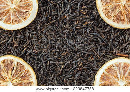 Tea herbs texture. Black tea. Organic dried black tea leaves.