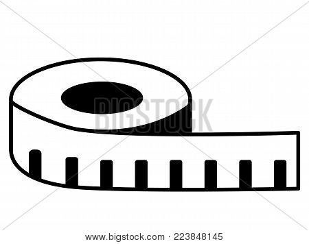 measuring tape icon on white background. measure sign. flat style.