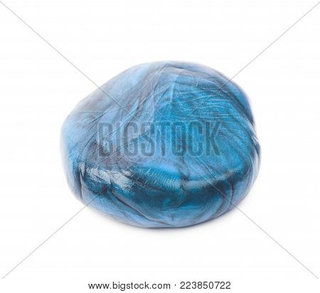 Ball formed of a smart hand putty plasticine playdough isolated over the white background poster