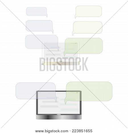 SMS correspondence on the phone. We send the message. Vector illustration