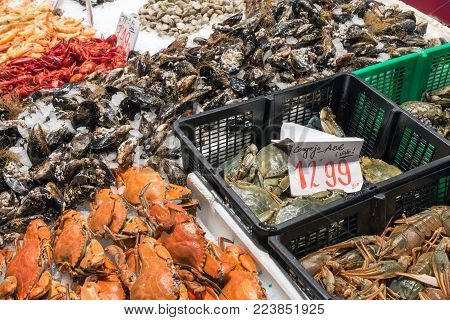 Crustaceans For Sale At A Market In Madrid, Spain