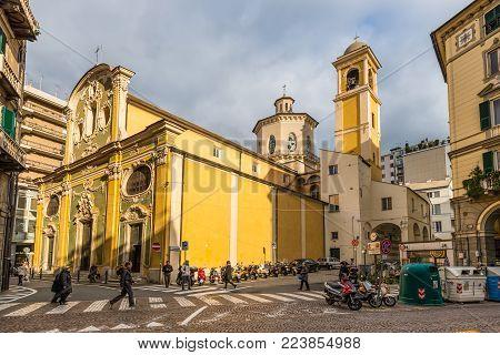 Savona, Italy - December 2, 2016: View of the church of Saint Giovanni Baptist (San Giovanni Battista) in San Domenico stands on the edge of the historic center of Savona, Liguria, Italy.