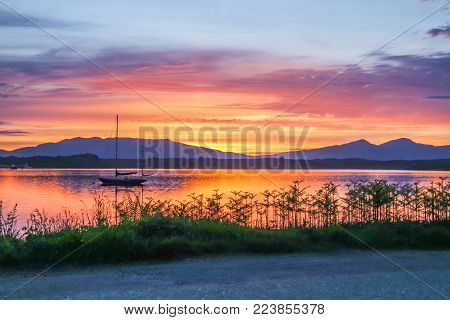 Amazing sunset at Loch Linnhe with Shuna Island and Ardnamurchan in background, Argyll - Scotland