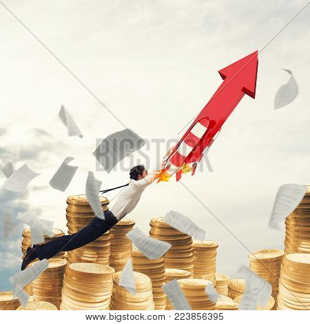 Business flying attached to a missile with an arrow. 3D Rendering