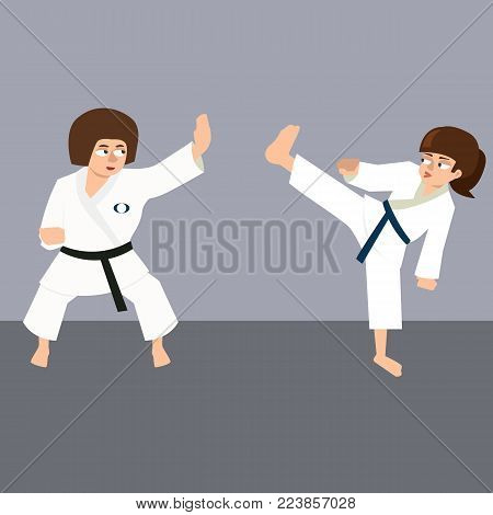 women's karate sparring - funny vector cartoon illustration in flat style