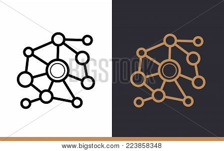 Outline network icon for startup business. Vector line icons suitable for info graphics, print media and interfaces
