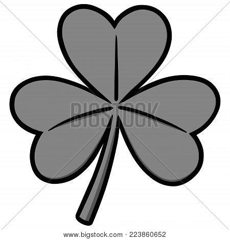 Clover Illustration - A vector cartoon illustration of a lucky Irish Clover.