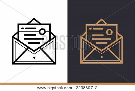 Outline email marketing icon for startup business. Line icons suitable for info graphics, print media and interfaces