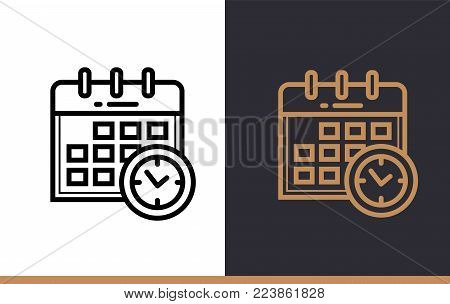 Outline SCHEDULE icon for education. Line icons suitable for info graphics, print media and interfaces