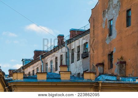 Composition of several urban historic buildings on the background of clear sky, Saint Petersburg, Russia