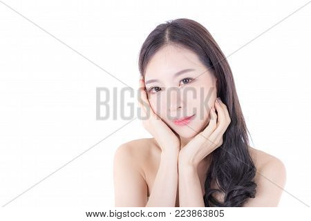 Beautiful Asian Woman Portrait Beauty Skin Care Concept. Fashion Beauty Model Isolated On White